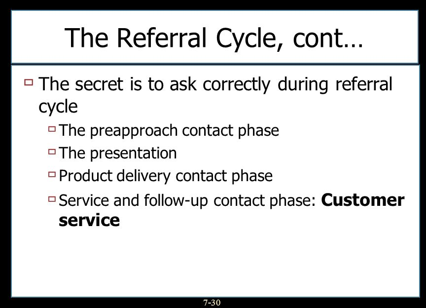The Referral Cycle, cont…