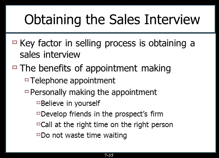 Obtaining the Sales Interview