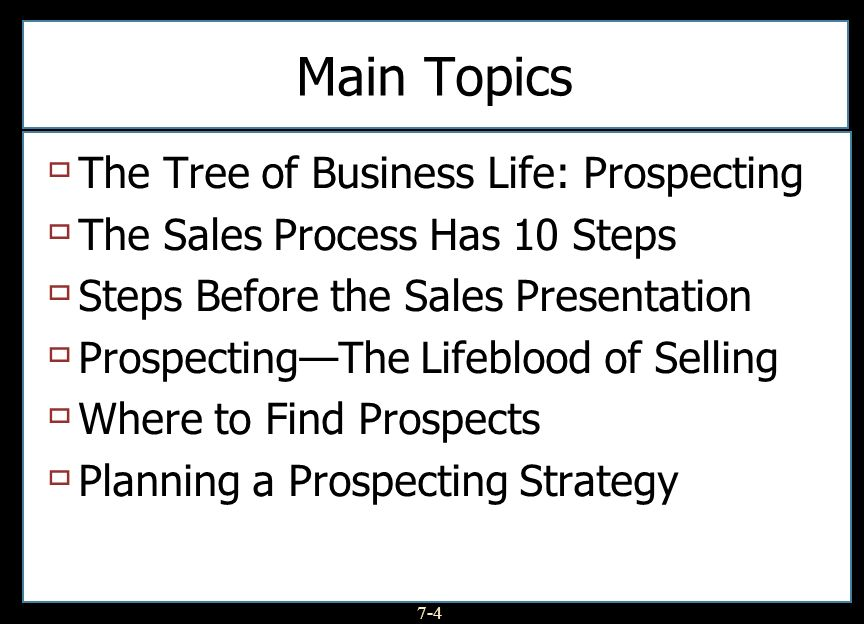 Main Topics The Tree of Business Life: Prospecting