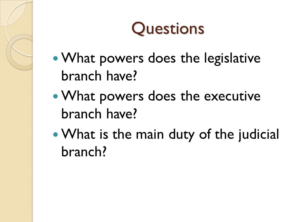 executive branch essay questions Legislative branch term paper while the free essays can give you inspiration for writing,  daring the chief executive either to veto it or seek a compromise the.