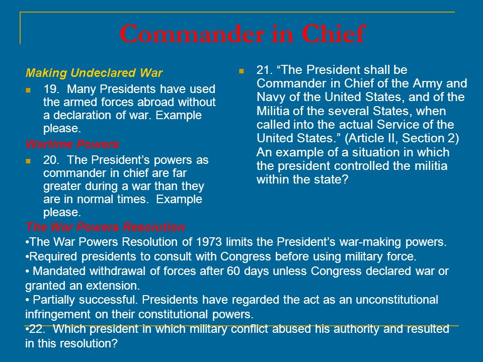 an analysis of the constitutional war powers of the president of the united states Lincoln's views of the suspensions will be considered along with a legal/constitutional analysis to determine whether congress or the gives the president all of the executive power of the united states the president's war power is an amalgam of a military power to command.