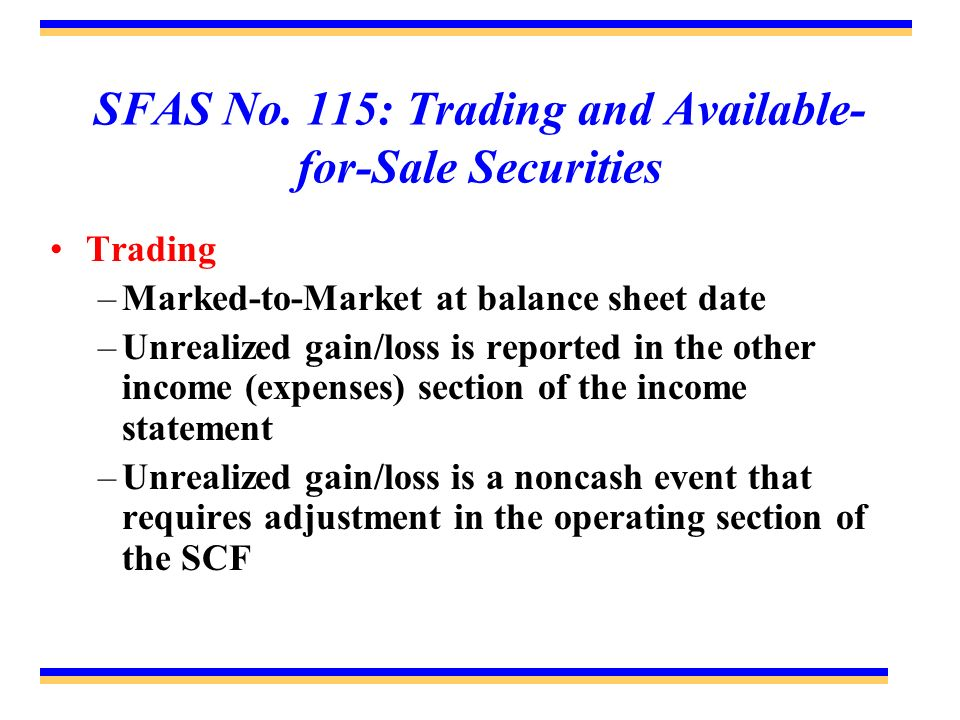 SFAS No. 115: Trading and Available-for-Sale Securities