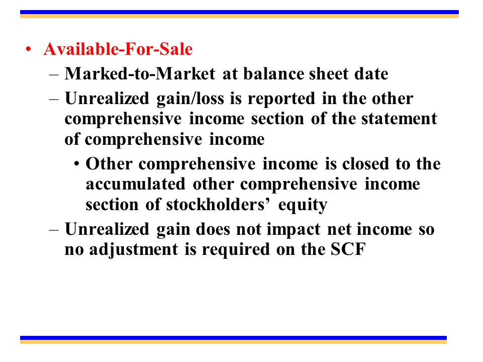 Available-For-Sale Marked-to-Market at balance sheet date.