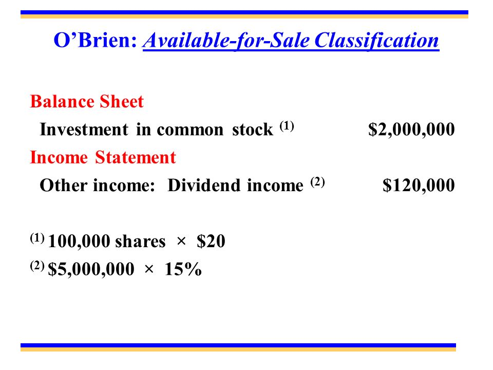 O'Brien: Available-for-Sale Classification