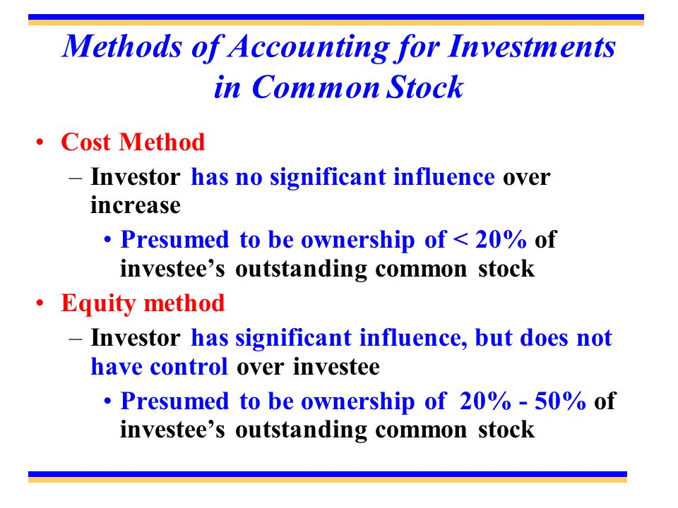 Methods of Accounting for Investments in Common Stock