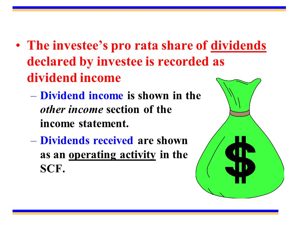 The investee's pro rata share of dividends declared by investee is recorded as dividend income