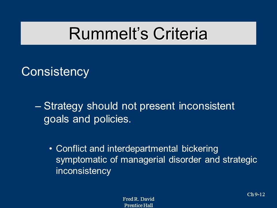 Rummelt's Criteria Consistency