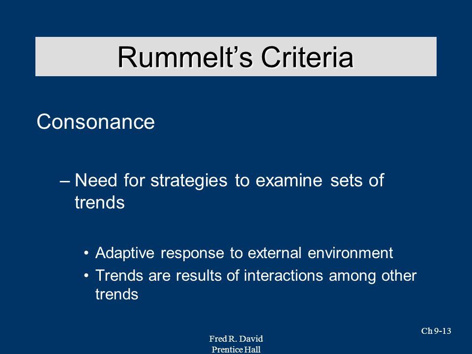 Rummelt's Criteria Consonance