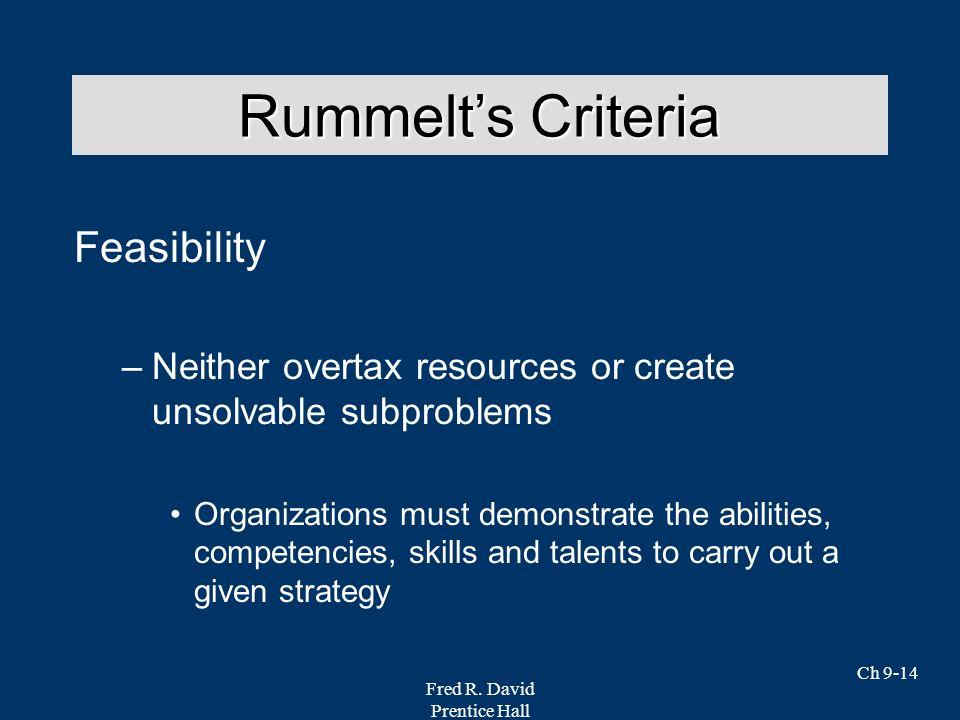Rummelt's Criteria Feasibility
