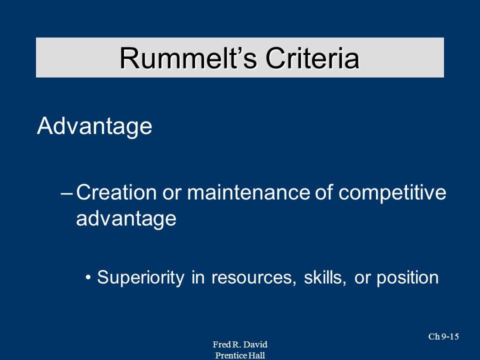 Rummelt's Criteria Advantage