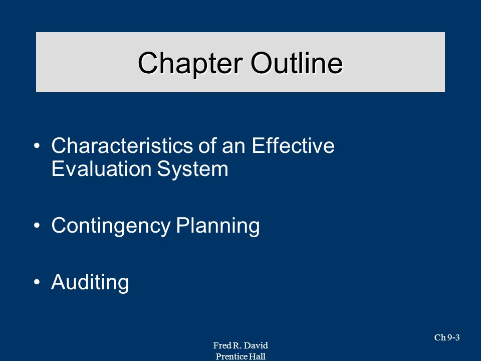 Chapter Outline Characteristics of an Effective Evaluation System