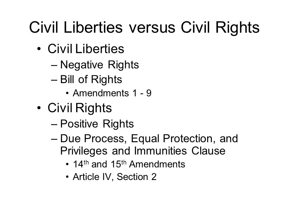 Civil Liberties versus Civil Rights