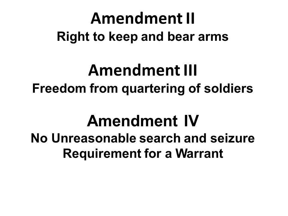 Right to keep and bear arms Freedom from quartering of soldiers