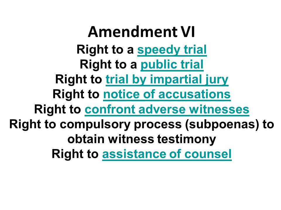 Amendment VI Right to a speedy trial Right to a public trial