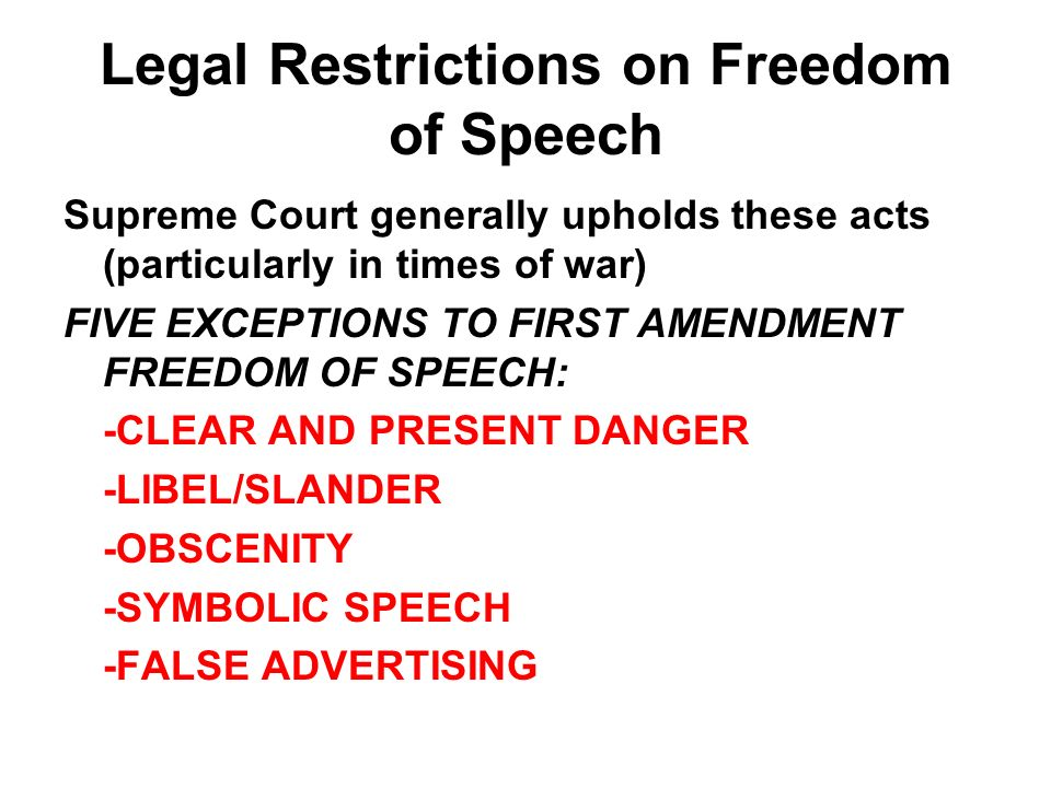 Legal Restrictions on Freedom of Speech