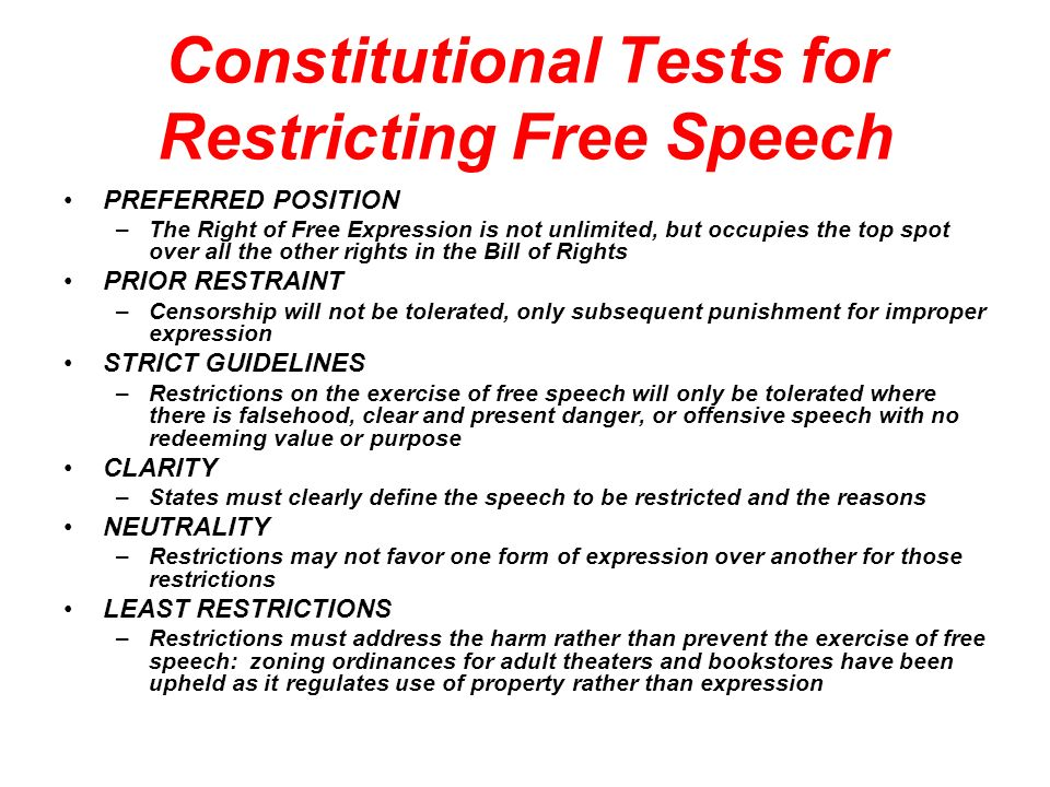 Constitutional Tests for Restricting Free Speech