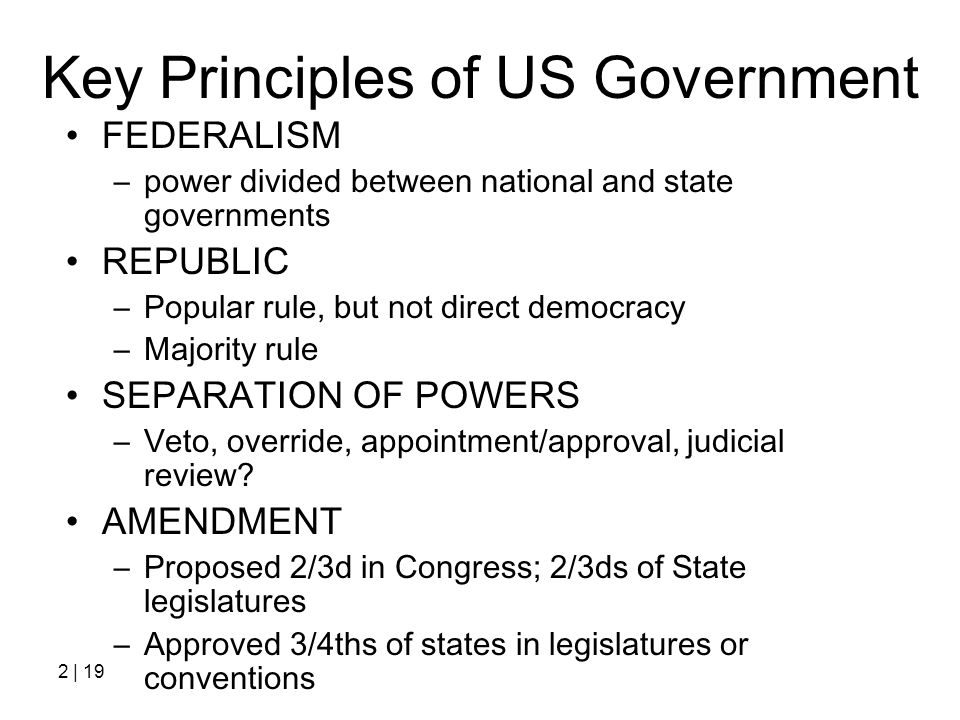 Key Principles of US Government