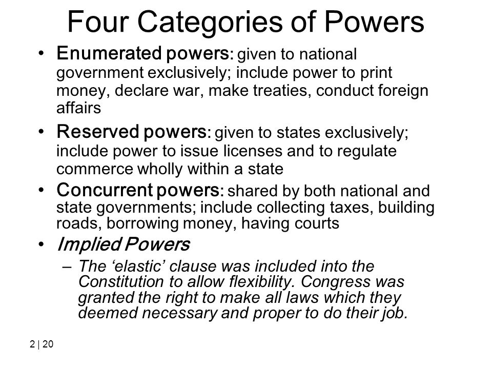 Four Categories of Powers