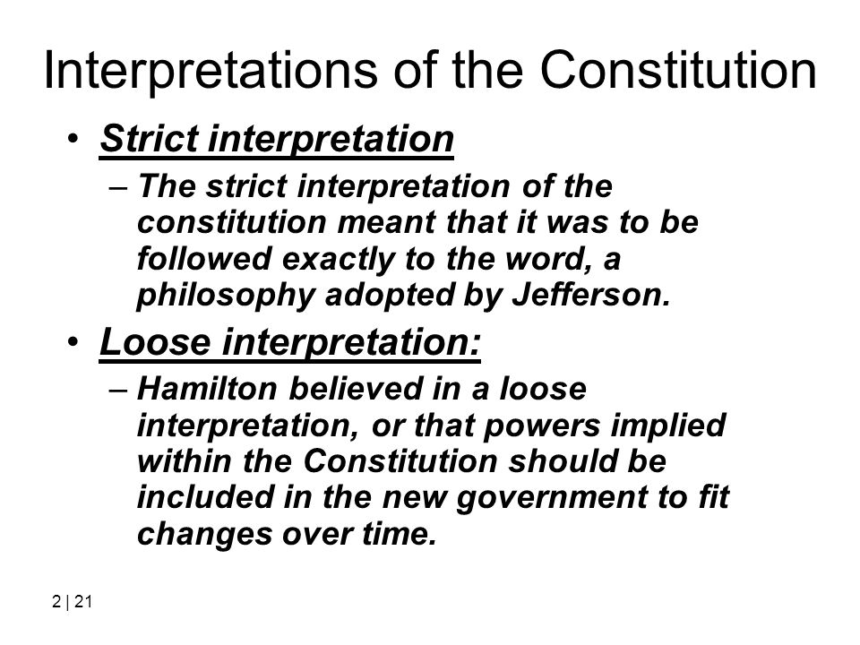 Interpretations of the Constitution