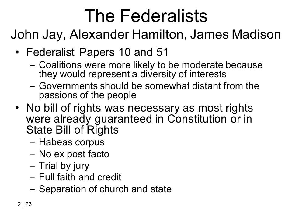 The Federalists John Jay, Alexander Hamilton, James Madison