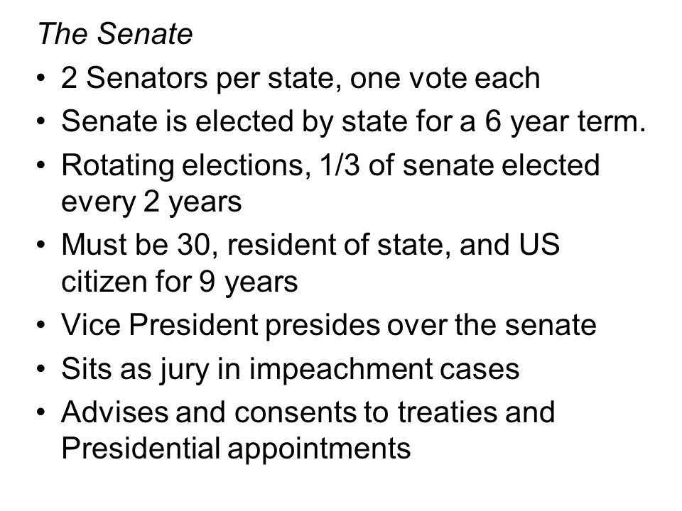 The Senate 2 Senators per state, one vote each. Senate is elected by state for a 6 year term.