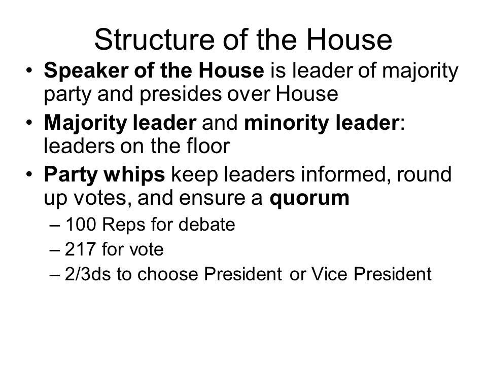 Structure of the House Speaker of the House is leader of majority party and presides over House.