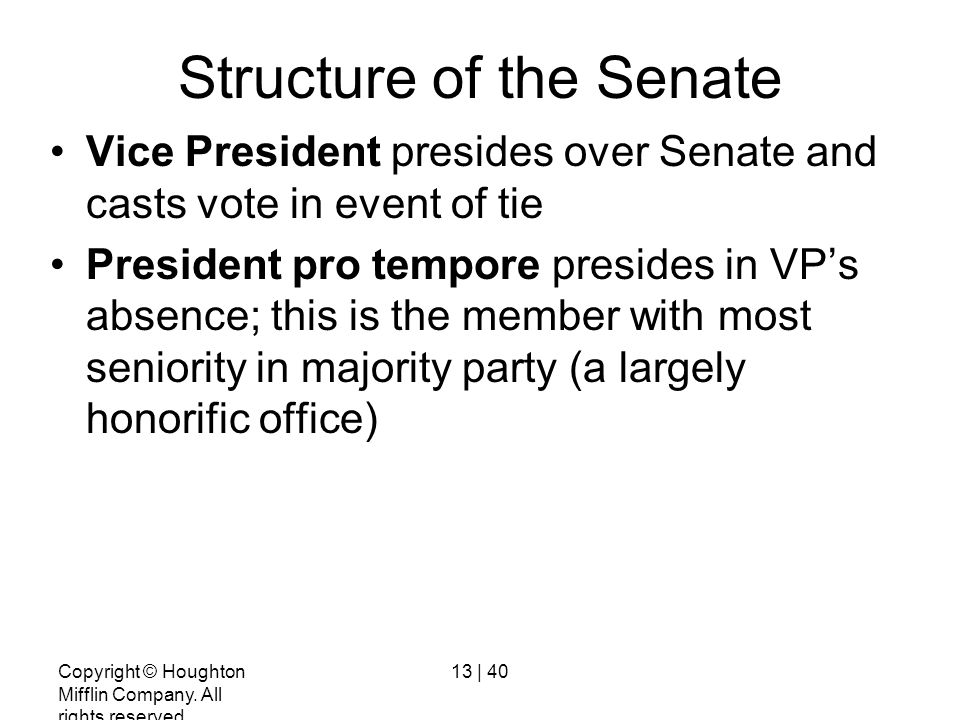 Structure of the Senate