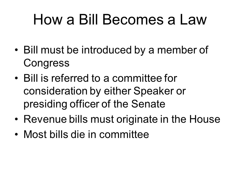How a Bill Becomes a Law Bill must be introduced by a member of Congress.