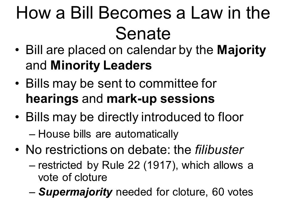 How a Bill Becomes a Law in the Senate