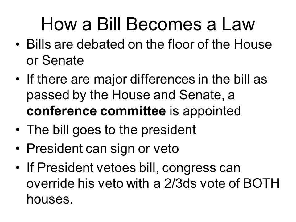 How a Bill Becomes a Law Bills are debated on the floor of the House or Senate.