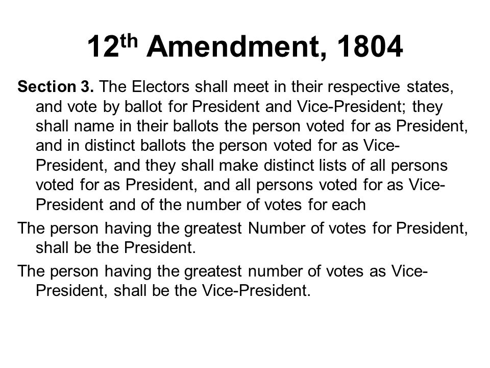 12th Amendment, 1804