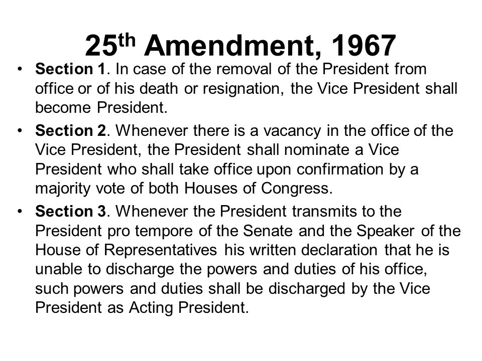 25th Amendment, 1967