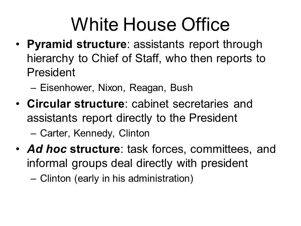 White House Office Pyramid structure: assistants report through hierarchy to Chief of Staff, who then reports to President.