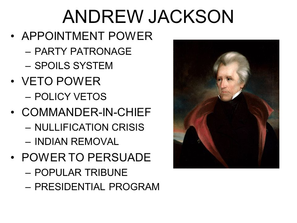 ANDREW JACKSON APPOINTMENT POWER VETO POWER COMMANDER-IN-CHIEF