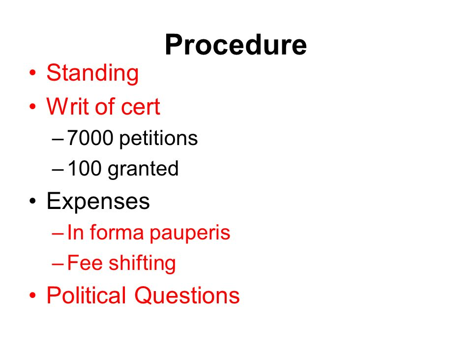 Procedure Standing Writ of cert Expenses Political Questions