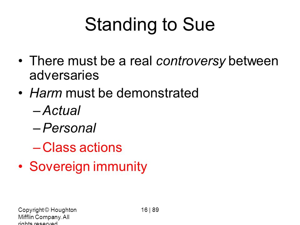 Standing to Sue There must be a real controversy between adversaries