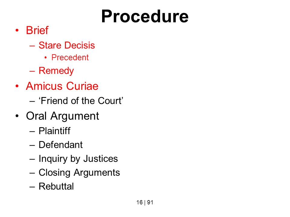 Procedure Brief Amicus Curiae Oral Argument Stare Decisis Remedy