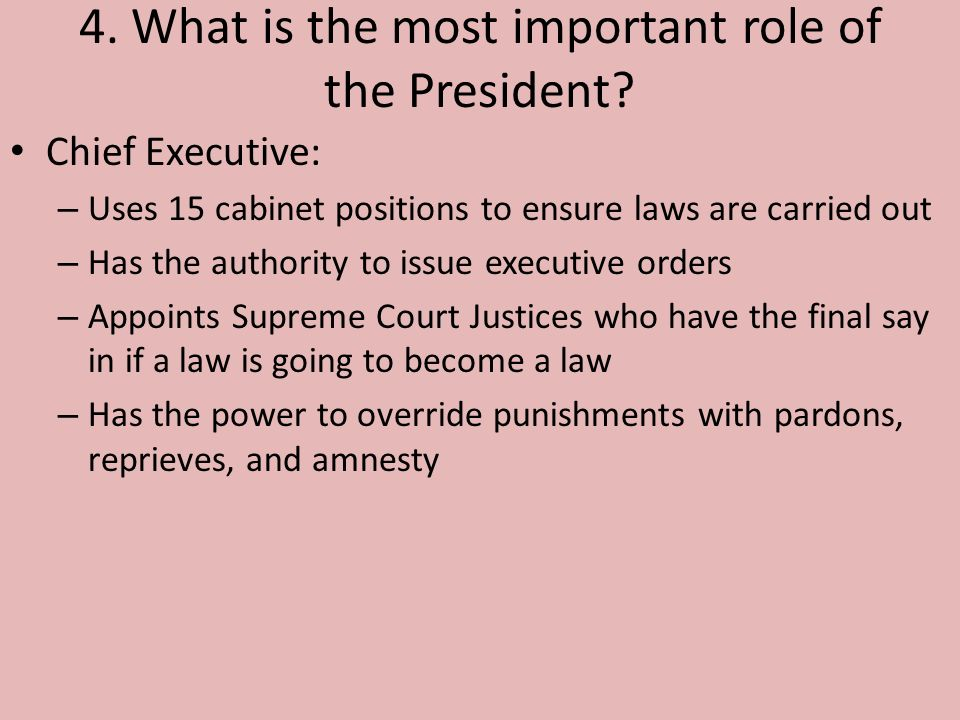 Chapter 7 Section 2 The President's Job. - ppt video online download