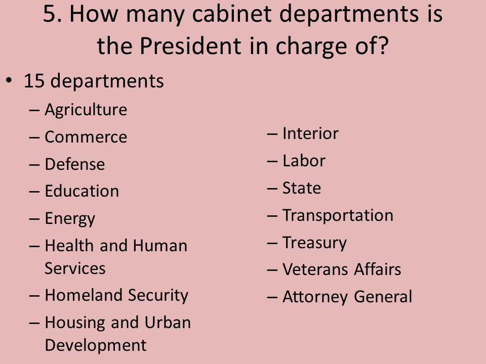 How Many Cabinet Departments Is The President In Charge Of