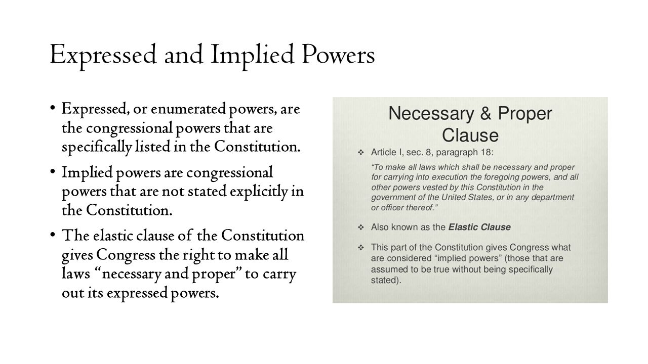 implied powers of congress essay This is an essay about the reserved powers of the states in the constitution if congress was not originally delegated power to regulate speech or the press, no such power is granted or implied by adoption of the bill of rights despite the framers' concerns and the clear text of the tenth amendment, the supreme court.