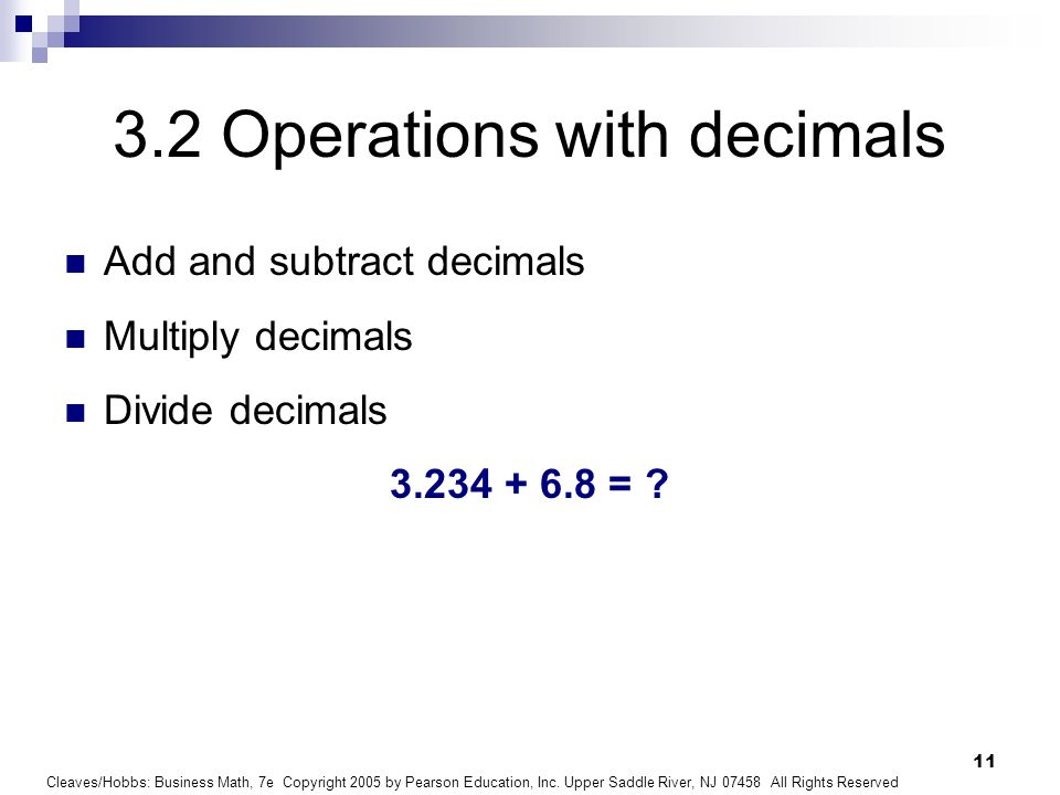 3.2 Operations with decimals