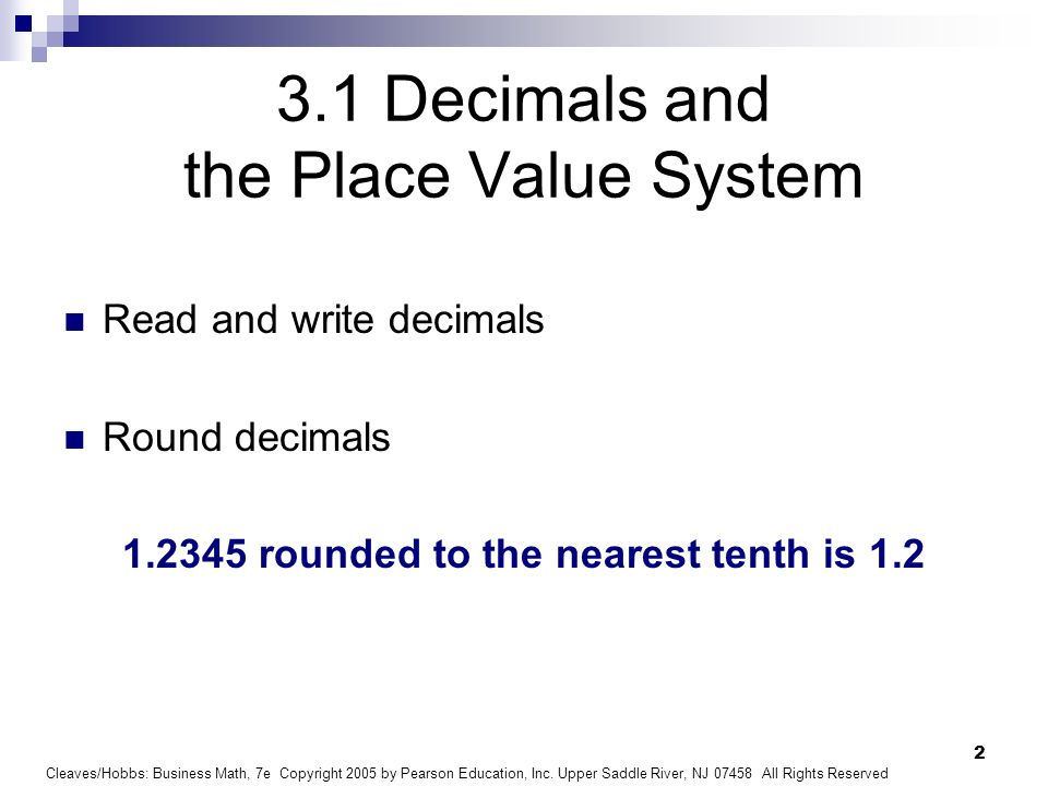3.1 Decimals and the Place Value System