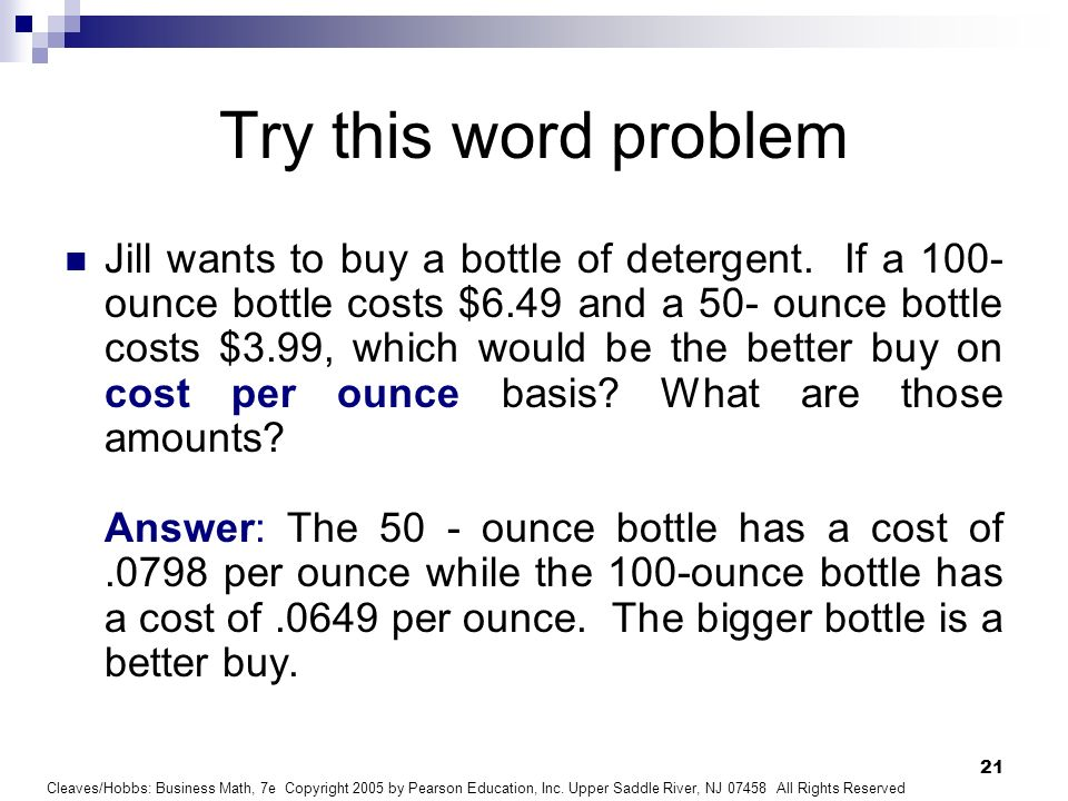 Try this word problem