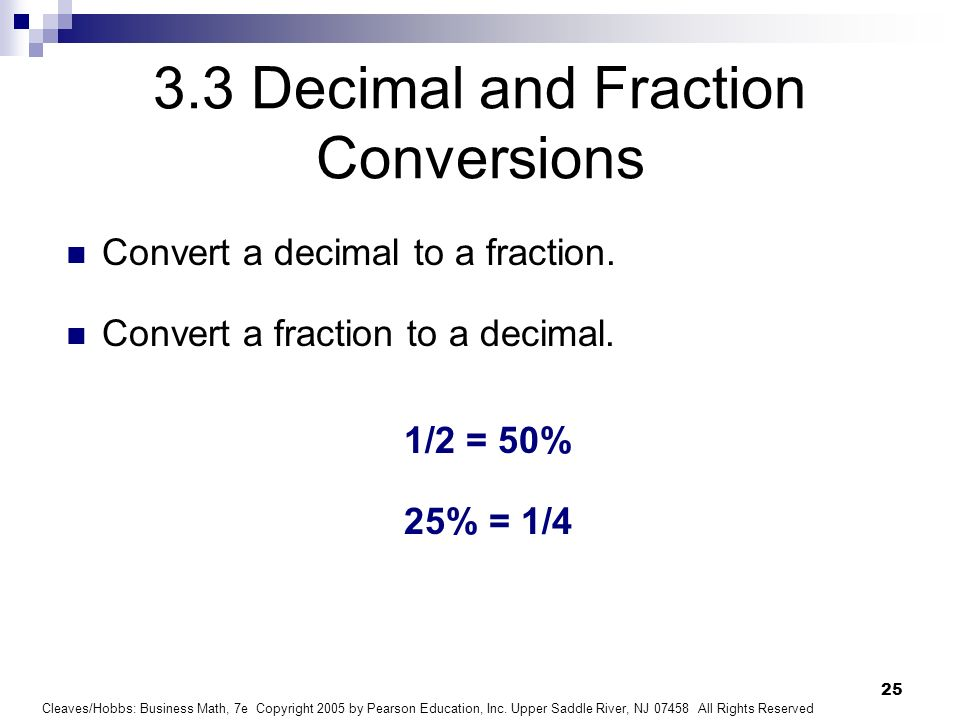 3.3 Decimal and Fraction Conversions