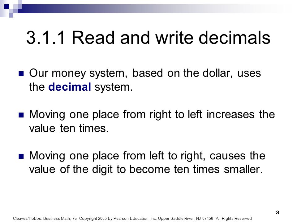 3.1.1 Read and write decimals