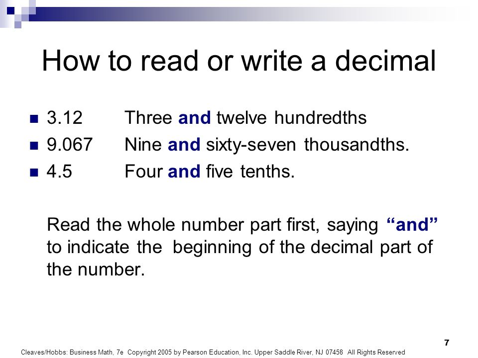How to read or write a decimal
