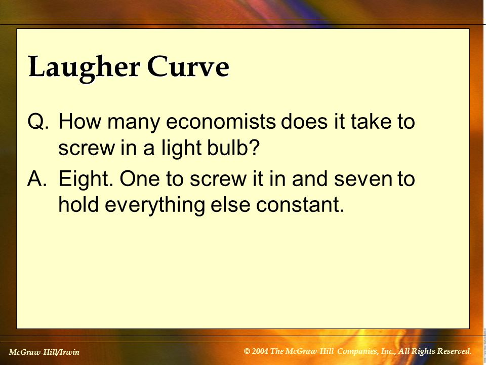 Laugher Curve Q. How many economists does it take to screw in a light bulb.