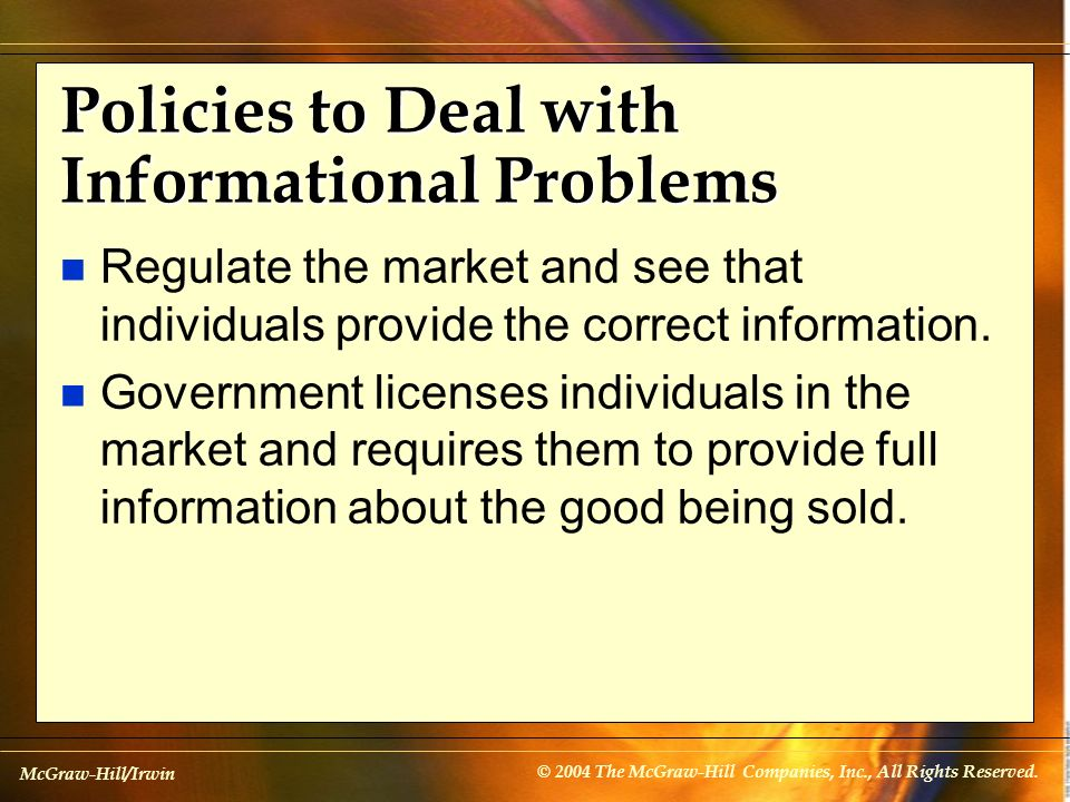 Policies to Deal with Informational Problems