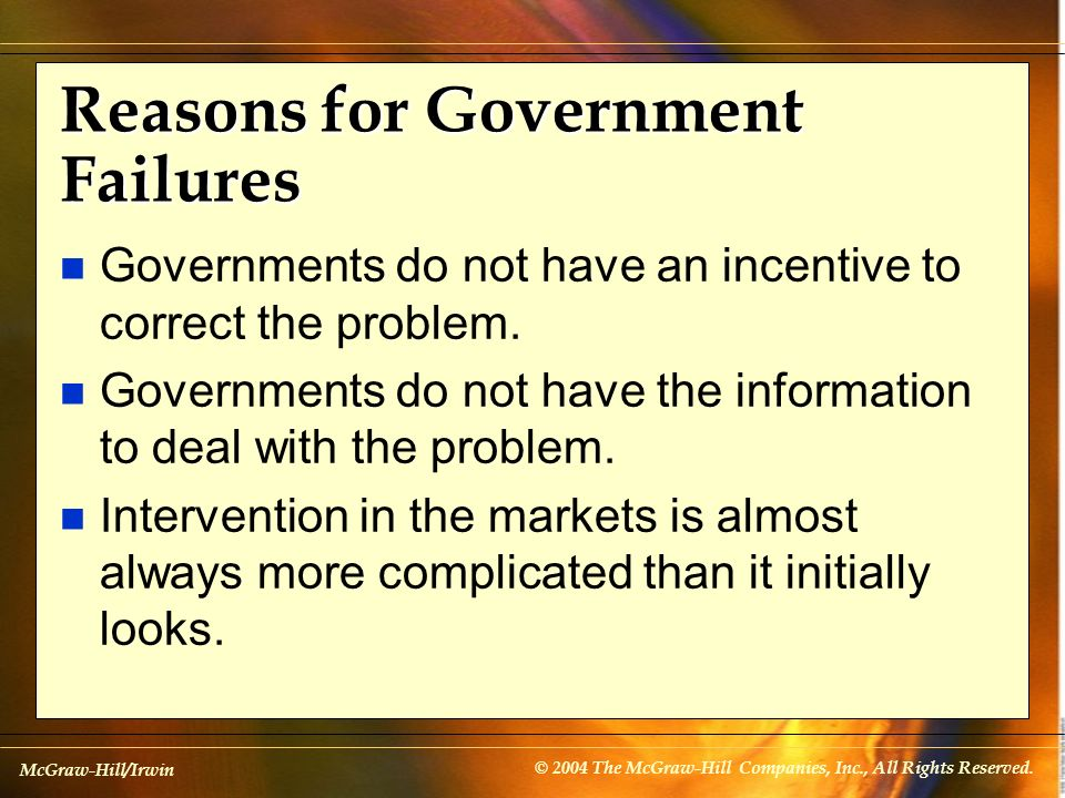 Reasons for Government Failures