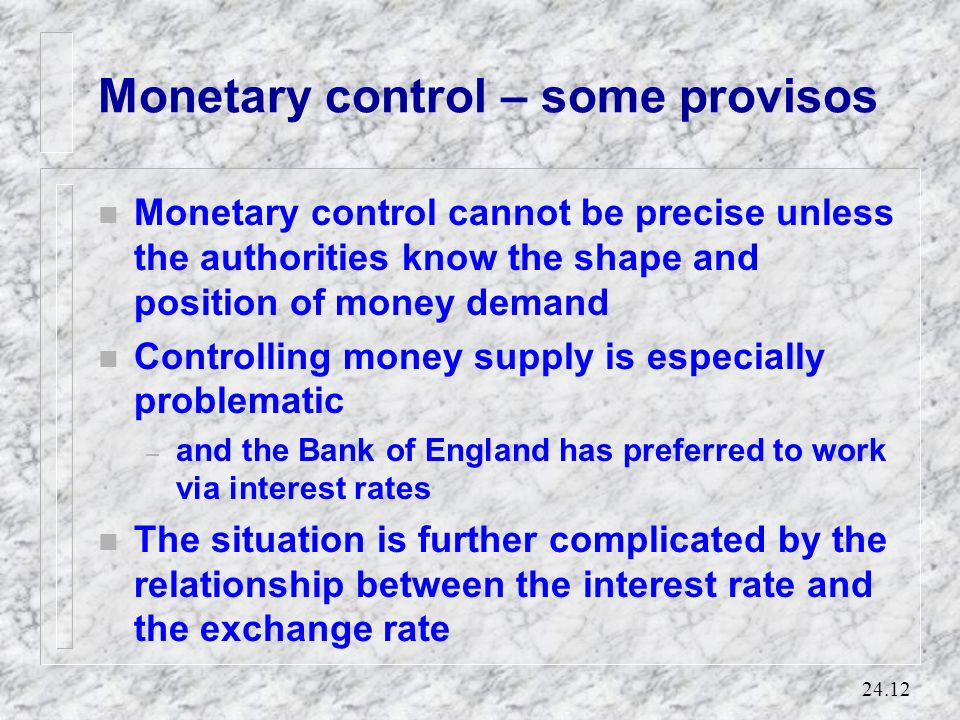 Monetary control – some provisos